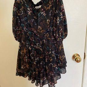 Off the shoulder flowy floral print mini dress